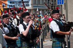 Scottish musicians during the demonstration for peace Royalty Free Stock Images
