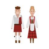 Scottish national costume. Illustration of national dress on white background Stock Photos