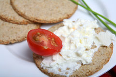 Scottish oatcakes and cream cheese Stock Photos