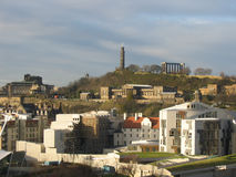 Scottish Parliament, Edinburgh. Scottish Parliament and Calton Hill, Edinburgh Stock Images