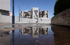 Scottish Parliament Rainpool Reflection Stock Photo