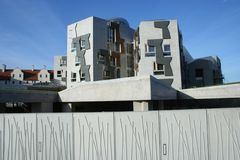 Scottish Parliament View Behind clear skies Stock Images