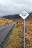 Scottish passing place signpost Stock Photography