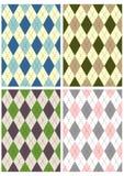 Scottish patterns. Four different traditional scottish patterns over white stock illustration