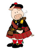 Scottish Pig with pipe. Royalty Free Stock Image