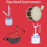Scottish pipe band musical instruments vector illustration. Vector set of scottish or irish pipe band musical instruments. Tenor drum, snare drum, bass drum and Stock Photography