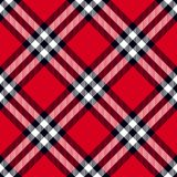 Scottish plaid in red, black, white. Tartan seamless pattern with fabric texture stock illustration