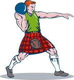 Scottish player shot put throw. Vector illustration of a Scottish player about to put the shot on white background Stock Image