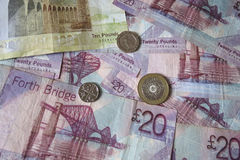 Scottish Pound notes and coins Stock Photos