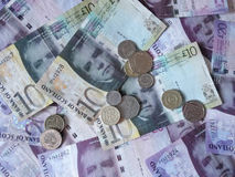 Scottish Pound notes and coins Royalty Free Stock Image