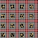 Scottish red tartan grunge seamless pattern with leopard spots eps10 royalty free illustration