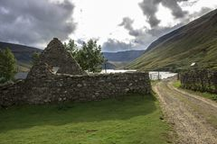 Old Church by Loch Lee`s burial ground Glen Esk Angus, Scotland stock photography