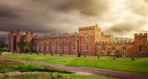 Scottish Scone Palace, where kings were crowned, near Perth. royalty free stock photo