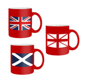 Scottish, Scotland referendum - flags on mugs, isolated on white Stock Image