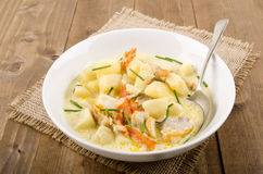 Scottish soup cullen skink with haddock, potato and onion Royalty Free Stock Photography