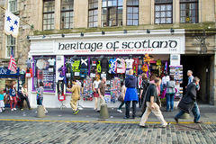 Scottish souvenir shop. This is a typical souvenir shop along Royal Mile in Edinburgh during 2012 festival. Heritage of Scotland sells all kind of souvenir made Stock Photography