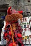 Scottish souvenirs made of red tartan. Edinburgh Royalty Free Stock Photo