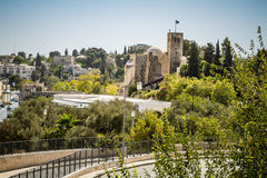 Scottish St. Andrews Church in Jerusalem, Israel. JERUSALEM, ISRAEL - OCTOBER 5: View of Scottish St. Andrews Church, outside the walls of the Old City in royalty free stock photography