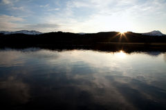 Scottish Sunset. A sunset over Loch Ard in the Highlands of Scotland royalty free stock photography