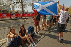 Scottish supporters at the London Marathon Royalty Free Stock Photos