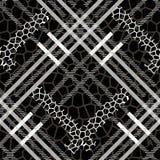Scottish tartan grunge seamless pattern with leopard spots eps10 vector illustration