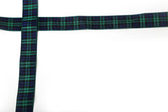 Scottish Tartan Ribbon boarder. Scottish green and blue Tartan Ribbon boarder on a white background Stock Image