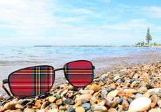 Scottish Tartan on Sunglasses Lenses royalty free stock photos