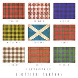 Scottish tartans in grunge design. Scottish tartans of various clans in grunge design Royalty Free Stock Image