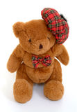 Scottish Teddy Bear. Teddy bear with tartan bonnet & bow Stock Image