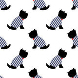 Scottish terrier in a sailor t-shirt seamless pattern. Sitting dogs on white background illustration. Child drawing style puppy background. French style Stock Photography