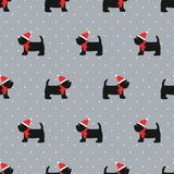 Scottish terrier in xmas hat seamless pattern. Cute dogs on polka dots background illustration. Chinese new year 2018. Design for textile, fabric and decor royalty free illustration