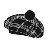 Scottish traditional cap icon in black style isolated on white background. Scotland country symbol stock vector Stock Images