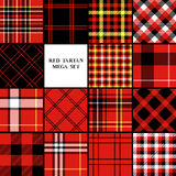 Scottish traditional tartan fabric seamless pattern set in red black and white, vector Royalty Free Stock Images