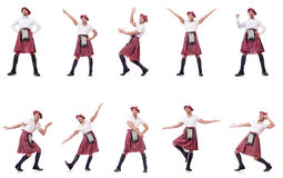 The scottish traditions concept with person wearing kilt Stock Photo