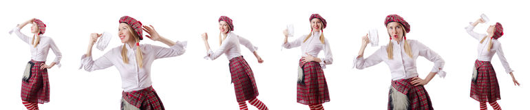 The scottish traditions concept with person wearing kilt Royalty Free Stock Images