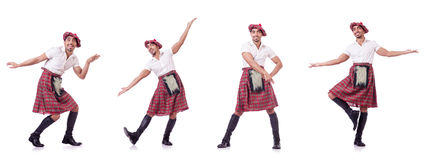 The scottish traditions concept with person wearing kilt Stock Photos