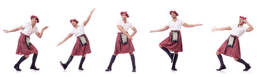 The scottish traditions concept with person wearing kilt Royalty Free Stock Photo