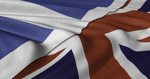 Scottish and UK flag fluttering in light wind. Stock Photos