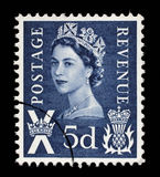 A Scottish Used Postage Stamp showing Portrait of Queen Elizabeth 2nd. Circa 1958 to 1970 Stock Photos
