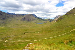 Green valley. Scottish valley on Isle of Skye Royalty Free Stock Photography