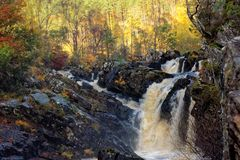 Scottish Waterfall, the Rogie Falls, in Autumn Royalty Free Stock Photo
