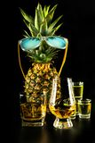 Scottish whisky in a glass with pineapple, golden color whiskey. Exclusive drink stock photo