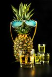 Scottish whisky in a glass with pineapple, golden color whiskey. Exclusive drink royalty free stock images