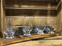 Scottish Whisky Tumblers on Oak Wood Royalty Free Stock Photography