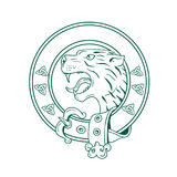 Scottish Wildcat Head Celtic Belt Drawing. Illustration of a Scottish Wildcat or Highlands tiger Head viewed from side set inside Celtic Belt done in hand drawn Stock Image