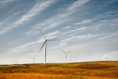 Scottish wind turbines. Wind turbines in a heather field Stock Photos