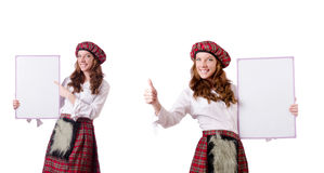 The scottish woman with board on white Stock Photography