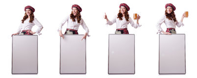 The scottish woman with board on white Royalty Free Stock Photos