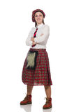 The scottish woman isolated on the white background Royalty Free Stock Image