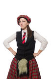 The scottish woman isolated on the white background Stock Photography